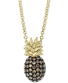 "EFFY® Diamond Pineapple 18"" Pendant Necklace (1/4 ct. t.w.) in 14k Gold"
