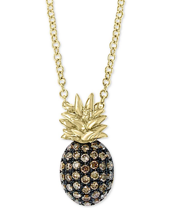 """EFFY Collection - Diamond Pineapple 18"""" Pendant Necklace (1/4 ct. t.w.) in 14k Gold"""