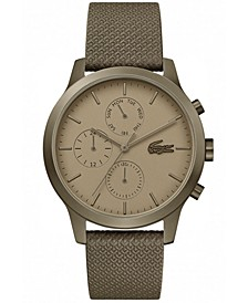 Men's Chronograph 12.12 Khaki Leather Strap Watch 42mm