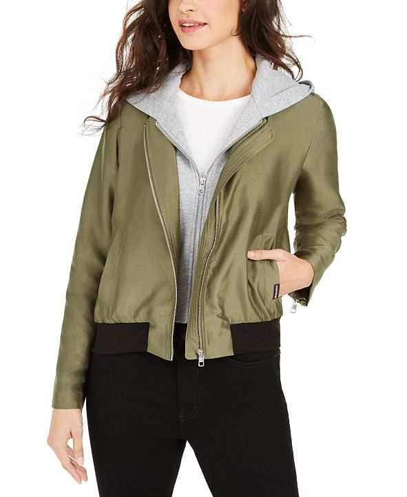 Calvin Klein Jeans Satin Bomber Jacket With Removable Hood