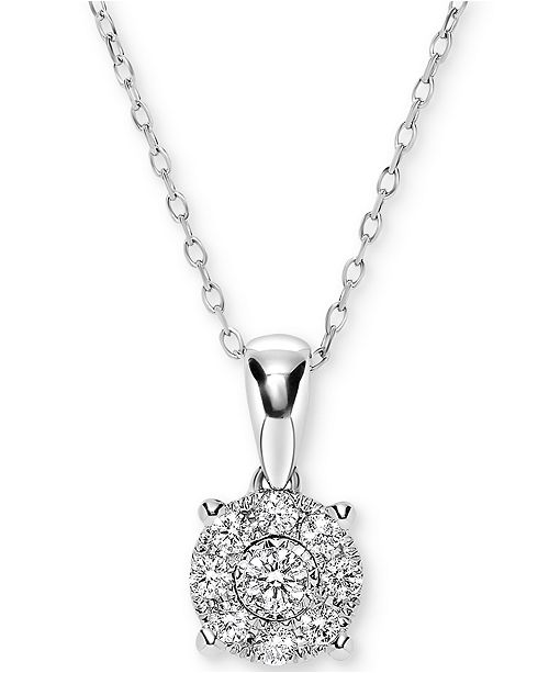 "Macy's Diamond Miracle Plate Cluster 18"" Pendant Necklace (1/4 ct. t.w.) in 14k White Gold"