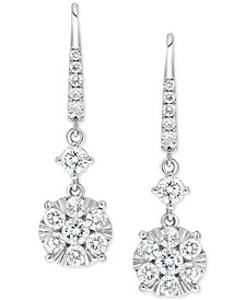 Diamond Linear Cluster Drop Earrings (2 ct. t.w.) in 14k White Gold
