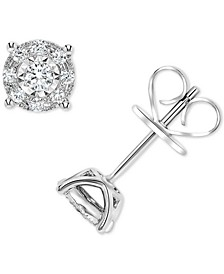 Diamond Miracle Plate Halo Stud Earrings (1/4 ct. t.w.) in 14k White Gold
