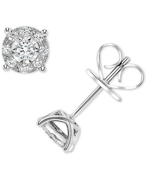 Macy's Diamond Miracle Plate Halo Stud Earrings (1/4 ct. t.w.) in 14k White Gold