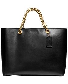 Refined Calf Leather Signature Chain Convertible Tote