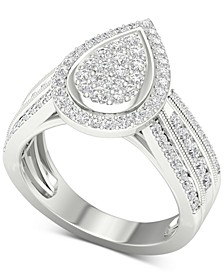 Diamond Teardrop Cluster Composite Ring (1 ct. t.w.) in 14k White Gold
