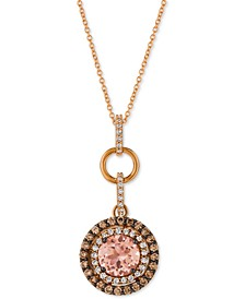 "Peach Morganite (1-3/8 ct. t.w.) & Diamond (7/8 ct. t.w.) 18"" Pendant Necklace in 14k Rose Gold"