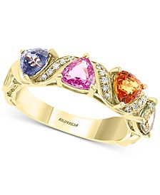 EFFY® Multi-Sapphire (2 ct. t.w.) & Diamond (1/20 ct. t.w.) Statement Ring in 14k Gold
