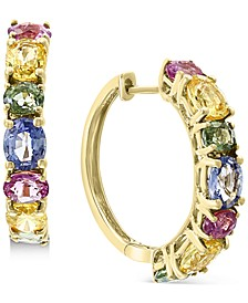 EFFY® Multi-Sapphire Huggie Hoop Earrings (4-1/2 ct. t.w.) in 14k Gold