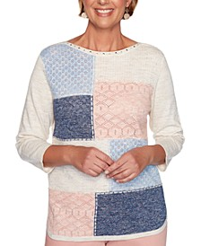 Pearls of Wisdom Pointelle-Knit Patchwork Sweater