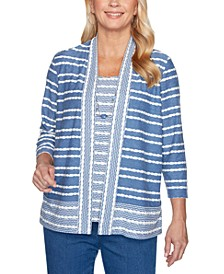 Pearls of Wisdom Layered-Look Textured-Stripe Top