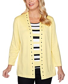 Riverside Drive Striped Embellished Layered-Look Sweater