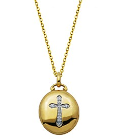 Gold-Tone Cubic Zirconia Oval Locket with Cross design