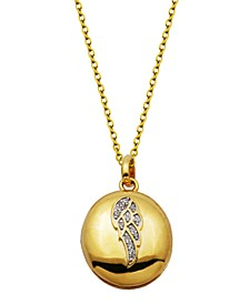 Gold-Tone Cubic Zirconia Oval Locket with Angel Wing Necklace in Fine Silver Plate