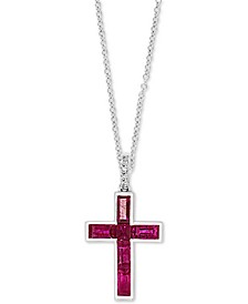 "EFFY® Certified Ruby (3/4 ct. t.w.) & Diamond Accent Cross 18"" Pendant Necklace in 14k White Gold"