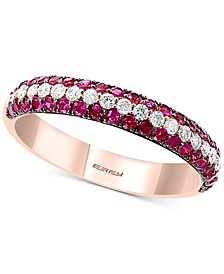EFFY® Certified Ruby (3/4 ct. t.w.) & Diamond (1/3 ct. t.w.) Band in 14k Rose Gold