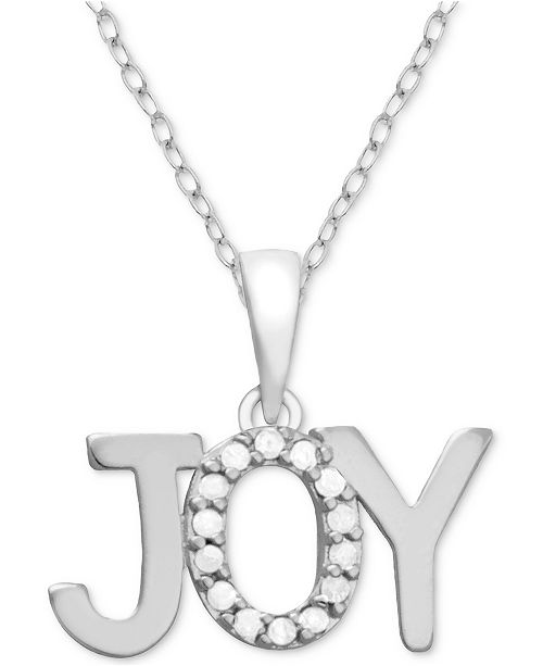 "Macy's Diamond Joy 18"" Pendant Necklace (1/10 ct. t.w.) in Sterling Silver"
