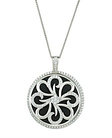 """Magnifying Glass & Mirror Pendant Black & Silver-Tone Necklace, 38"""""""