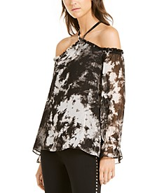 INC Tie-Dyed Cold-Shoulder Top, Created for Macy's