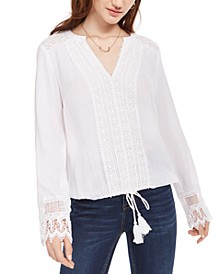 Juniors' Crocheted Lace-Detail Blouse