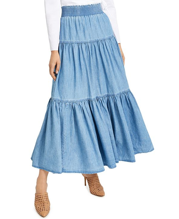 INC International Concepts INC Tiered Chambray Maxi Skirt, Created for Macy's