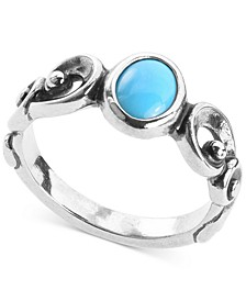 Turquoise Scrollwork Statement Ring in Sterling Silver