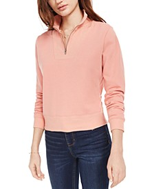 Love Fire Juniors' Quarter-Zip Long-Sleeve Top