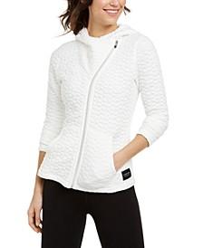 Jacquard Asymmetrical-Zip Hooded Jacket