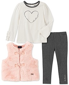 Baby Girls 3-Pc. Faux-Fur Vest, Heart-Print Top & Leggings Set