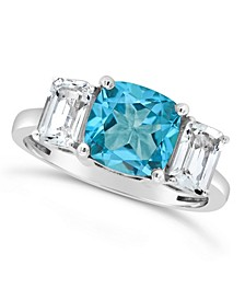 Blue Topaz (2-3/4 ct. t.w.) and White Topaz (1-3/8 ct. t.w) Ring in Sterling Silver. Also Available in Citrine (2 ct. t.w.) and Amethyst (2 ct. t.w.)