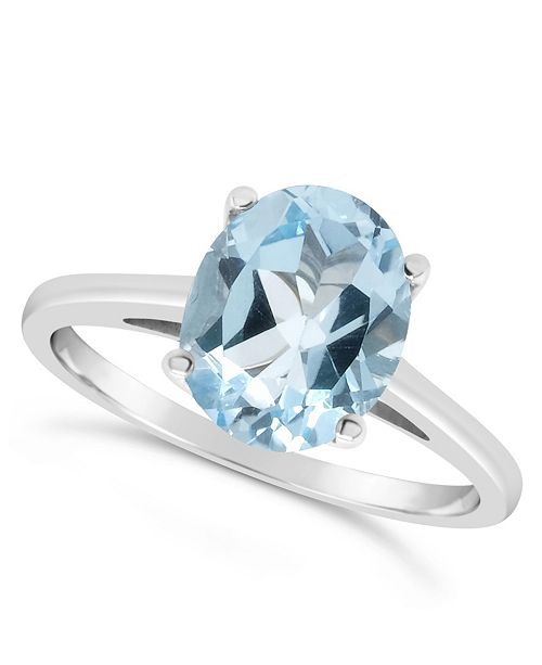 Macy's Sky Blue Topaz (3  ct. t.w.) Ring in Sterling Silver. Also Available in Rose Quartz (2-1/4 ct. t.w.)
