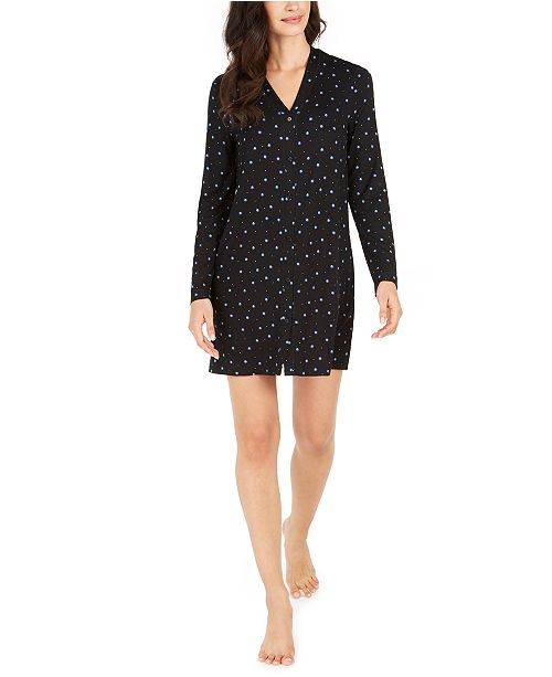 Alfani Printed Button-Front Sleep Shirt, Created For Macy's