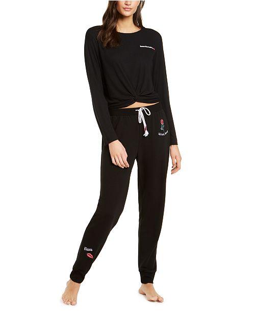 Jenni Twist-Front Pajama Top & Printed Pajama Pants, Created For Macy's