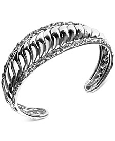 Ribbed Cuff Bracelet in Sterling Silver