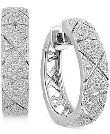 """Diamond Filigree Heart Small Hoop Earrings (1/10 ct. t.w.) in Sterling Silver, 0.9"""""""