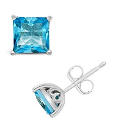 Blue Topaz (2-7/8 ct. t.w.) Stud Earrings in Sterling Silver. Also Available in Amethyst (2-1/6 ct. t.w.)