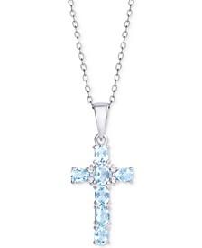 "Blue Topaz Cross 18"" Pendant Necklace (5/8 ct. t.w.) in Sterling Silver"