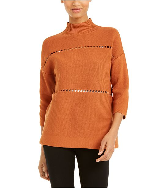 Alfani Cotton Pointelle Poncho Sweater, Created for Macy's