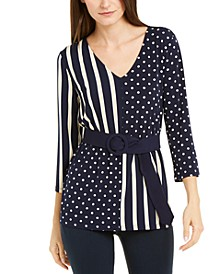 Petite Mixed-Print Belted Top, Created For Macy's