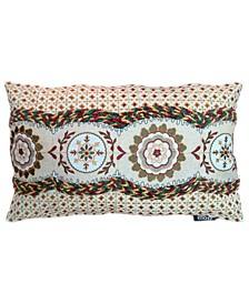 "Spice Collection Medallion Allover Embroidery Lumbar Pillow, 13"" X 20"""