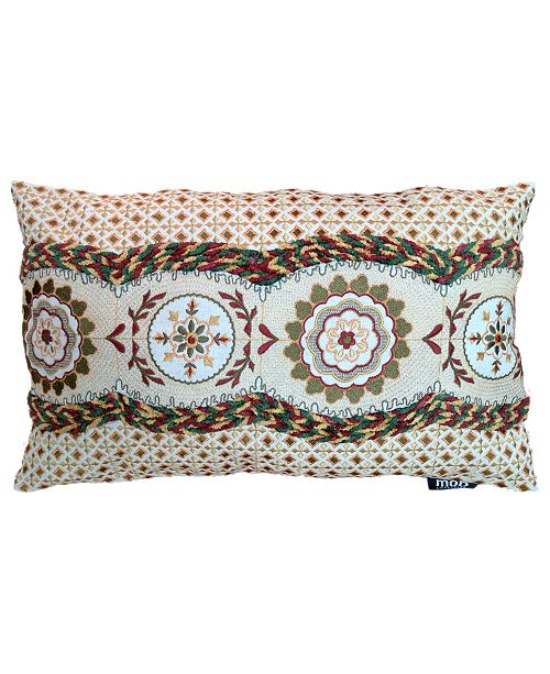 "Mod Lifestyles Spice Collection Medallion Allover Embroidery Lumbar Pillow, 13"" X 20"""