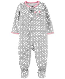 Baby Girls 1-Pc. Cat Dot-Print Footie Pajama