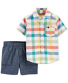 Toddler Boys 2-Pc. Cotton Plaid Shirt & Chambray Shorts Set