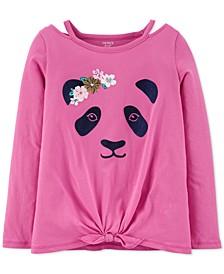 Little & Big Girls Cotton Tie-Front Panda T-Shirt