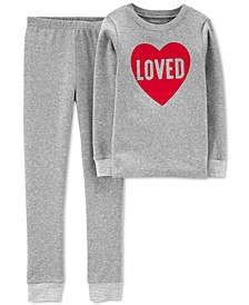 Little & Big Kids 2-Pc. Loved Cotton Pajamas Set
