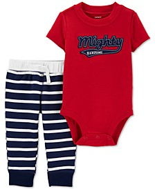 Baby Boys 2-Pc. Cotton Mighty Handsome Bodysuit & Jogger Pants Set