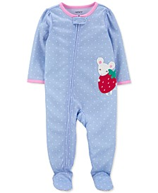 Toddler Girls 1-Pc. Mouse Dot-Print Footie Pajama