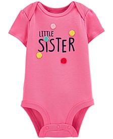 Baby Girls Cotton Little Sister Bodysuit