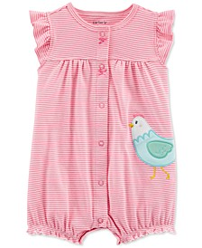 Baby Girls Striped Chicken Cotton Romper