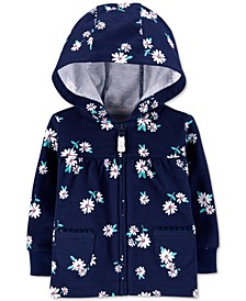 Baby Girls Cotton Floral-Print French Terry Hoodie